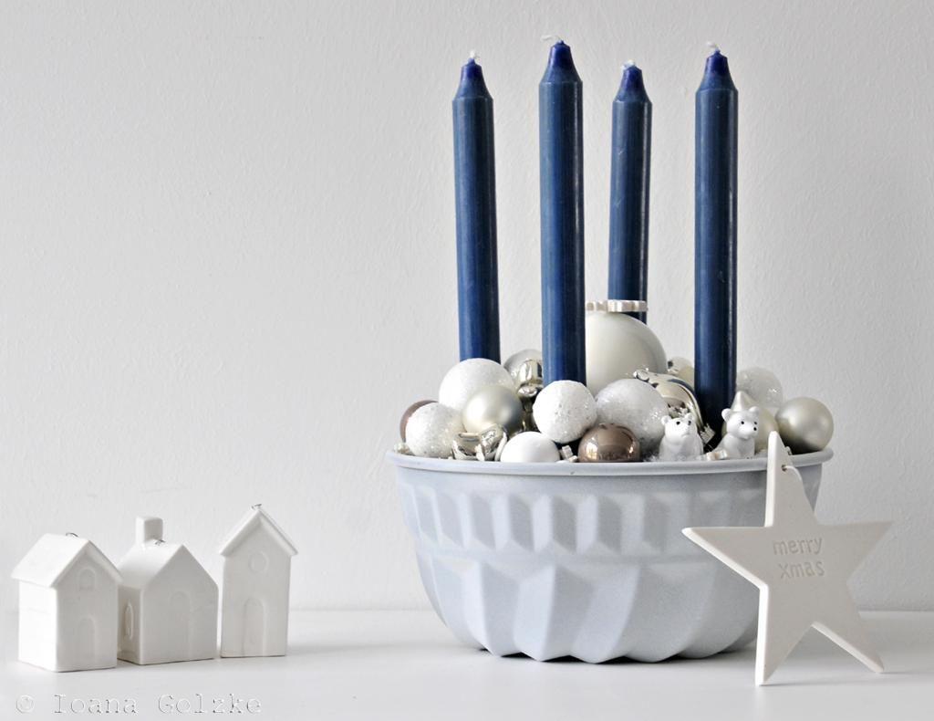 Adventskranz mal anders weihnachtsbasar deko - Weihnachtsdeko blau ...