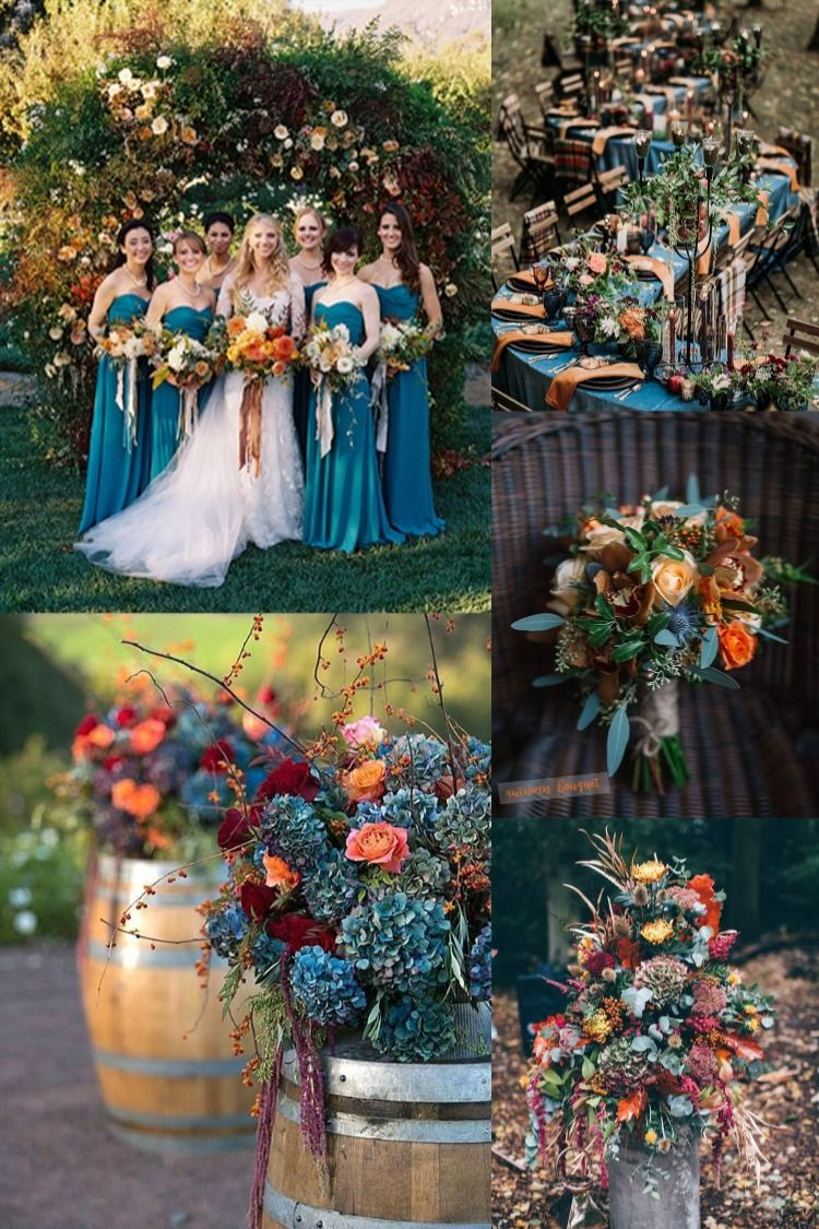 20 Dark Teal and Rust Orange Wedding Color Ideas for Fall | Orange wedding  colors, Wedding theme colors, Wedding colors