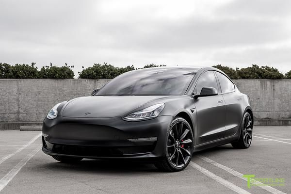 """All Satin Black Performance Model 3 with 20"""" TST - T ..."""
