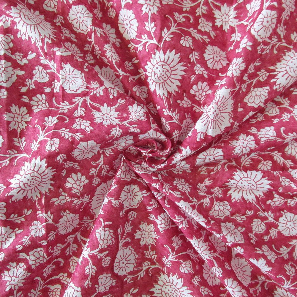 Indian Hand Block Print Fabric 100/% Cotton Floral Natural Dye Running Fabric