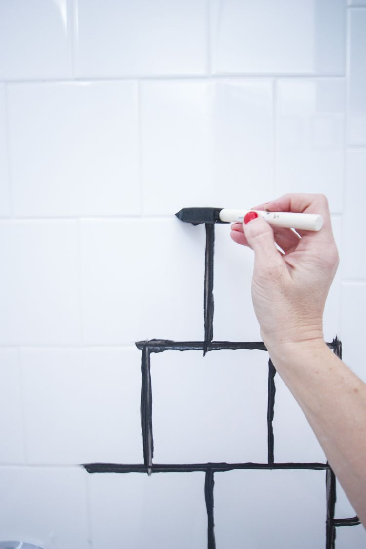 Staining Tile Grout Diy Painting Bathroom Tiles Tile