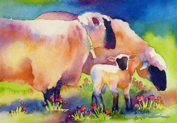 Beside Still Waters - Two Sheep with One Lamb - Susan Crouch