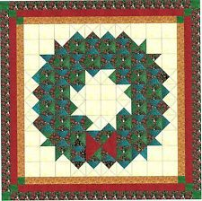 Easy Quilt Kit/Christmas Wreath/Precut Fabric Ready To Sew/Red/gold/Greens