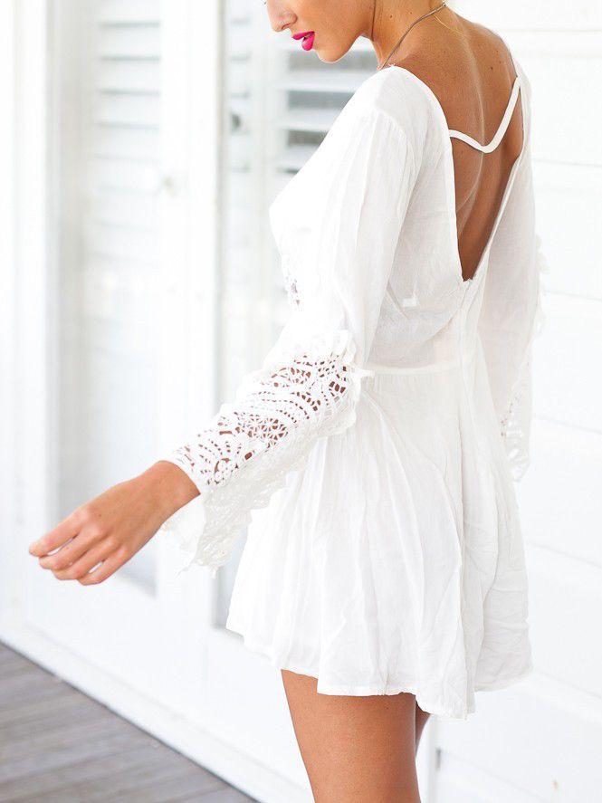 2dfdd5c2cabf White Deep V Neck Crochet Waist Long Sleeve Romper Playsuit