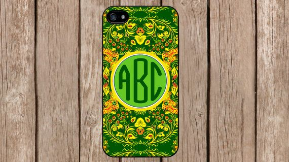 Personalized Monogram Russian Hohloma Floral Green for iPhone 4/4s/5/5s/5c Samsung Galaxy S3/S4/S5/Note 2/Note 3 by TopCraftCase, $6.99