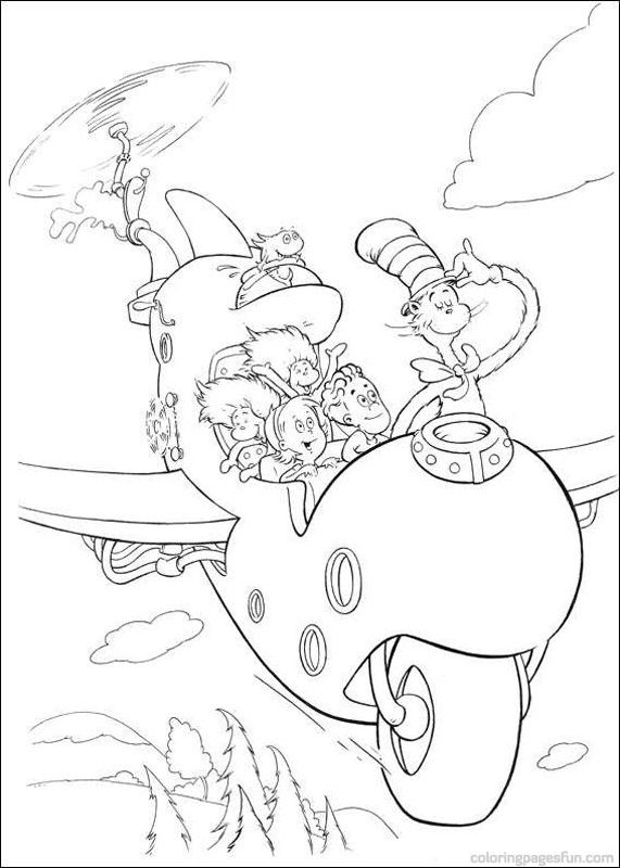 dr seuss the cat in the hat coloring pages 2