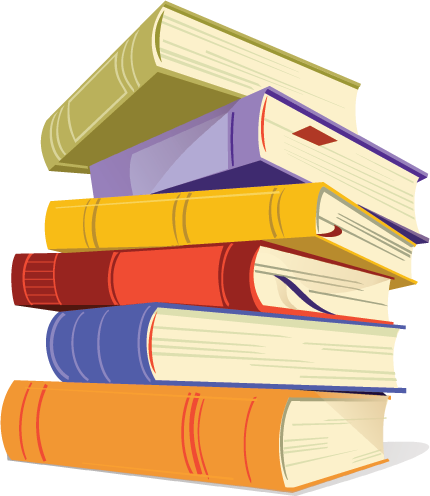 Books library. Stack of clipart bing