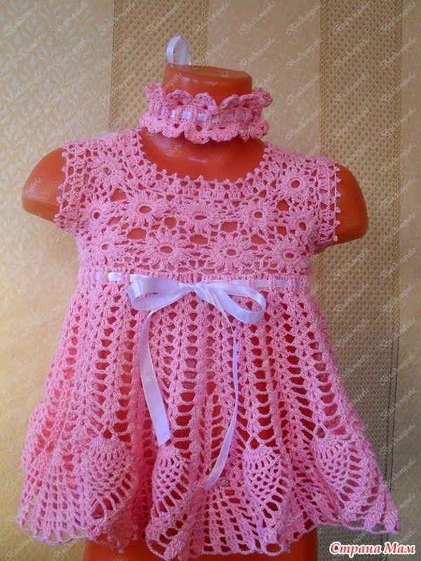 Robe rose pour fillette de 1 an et ses grilles gratuites baby preemie stuff crochet knit - Robe bebe en crochet avec grille ...