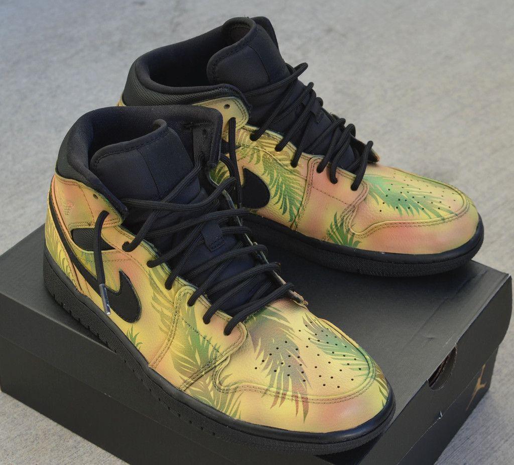 brand new c640a a03da Tropical Floral Nike AJ1 Retro - Hand Painted Jordans Custom Jordans, Custom  Sneakers, Sneakers