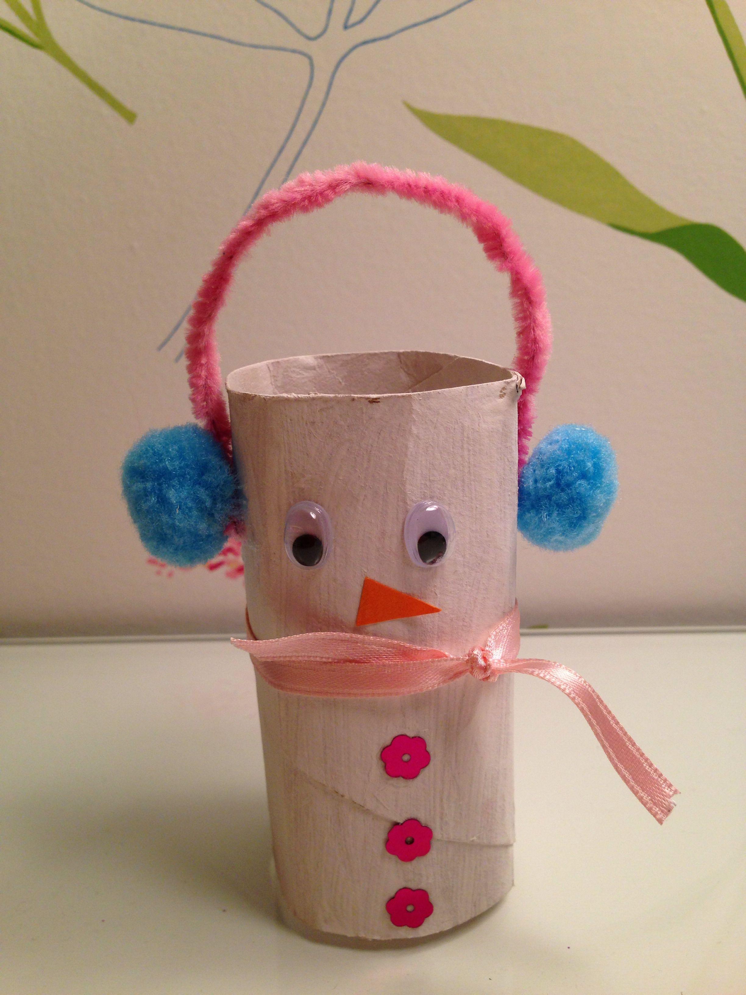Mu eco de nieve con rollo de papel higienico - Manualidades con rollos de papel ...