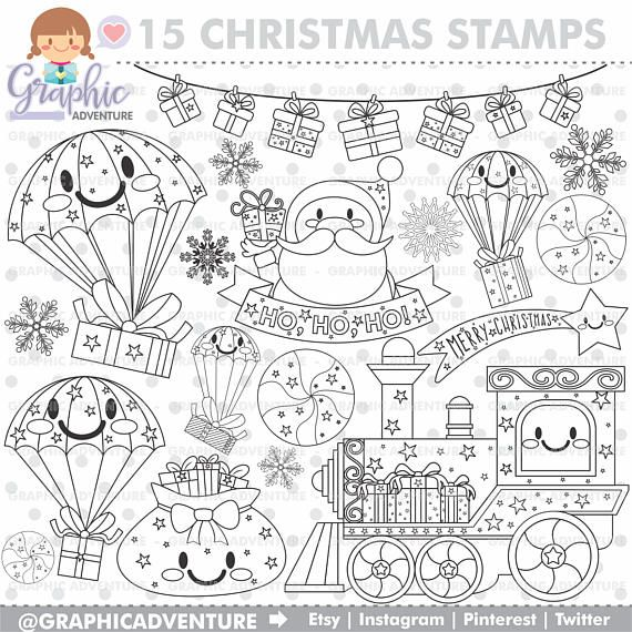 Christmas Stamps, Digital Stamp for all your projects