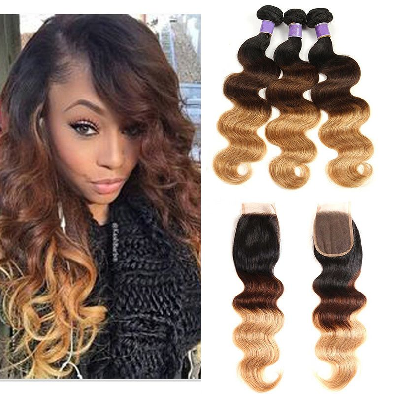 T1b 4 27 Dark Root Blonde Ombre Human Hair Weave 3 Bundles With