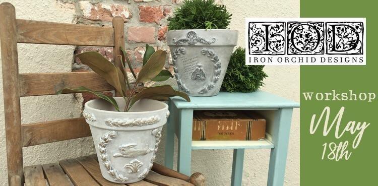 Iod garden pot craft class iron orchid designs decor
