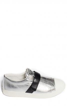 Sneakers Bicolore Argent et Noir Prada
