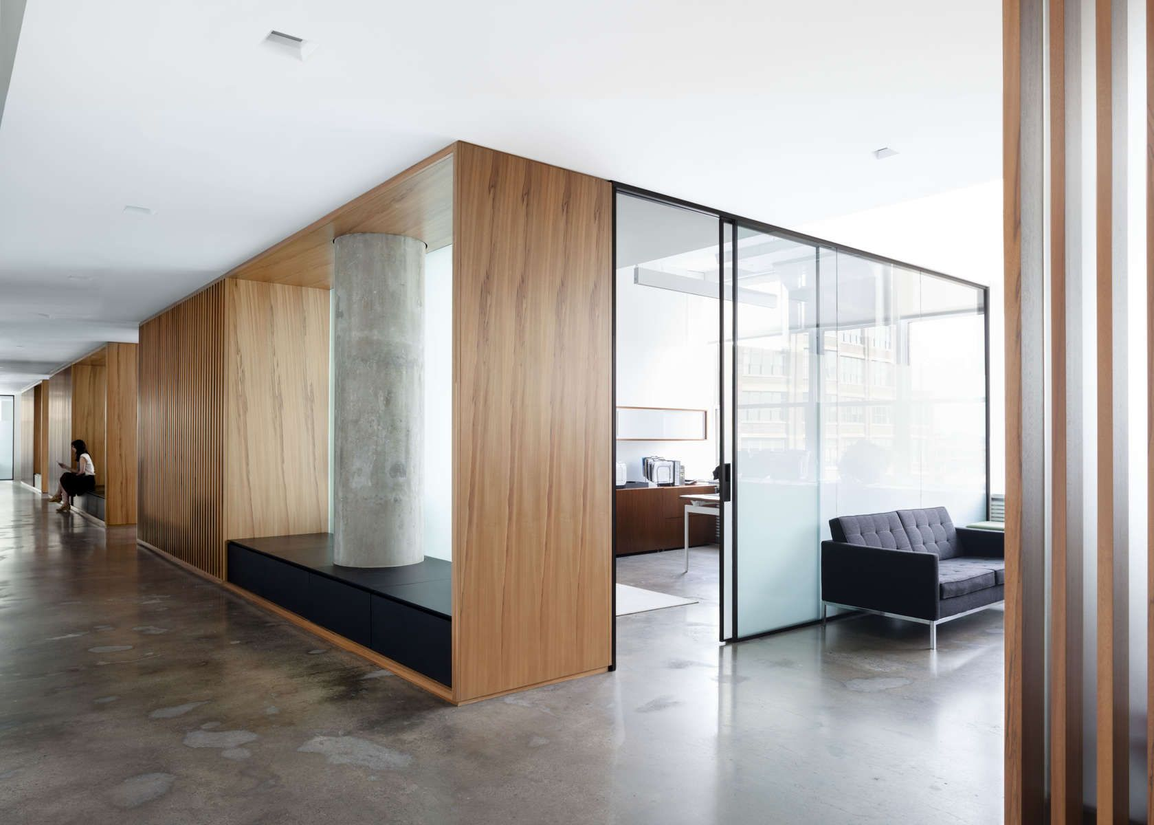 Architizer office wood glass offices pinterest wood for Office wall interior
