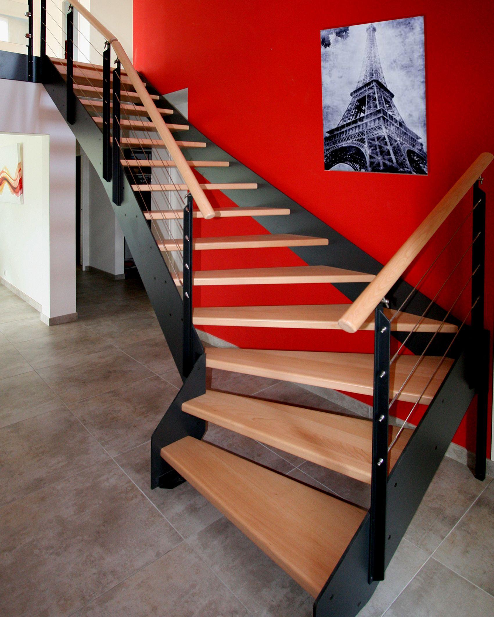 Escalier double limon. Idée #décoration : Ce style industriel ...