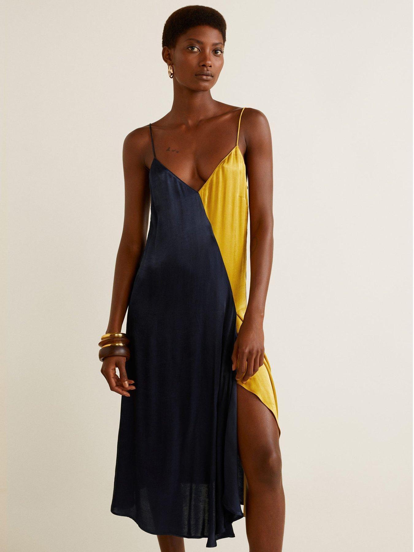 be2fcef81ef2 Mango Colour Block Cami Midi Dress - Navy/Yellow | littlewoodsireland.ie
