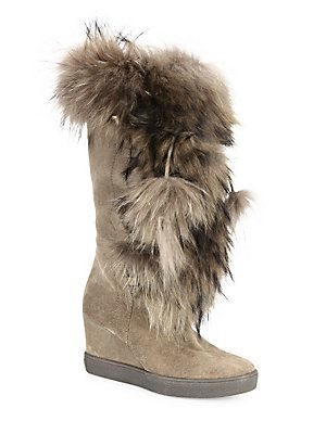 344edff3628 Aquatalia Colette Suede, Raccoon Fur & Shearling Wedge Boots ...