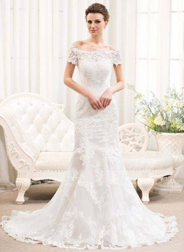 Trumpet/Mermaid Off-the-Shoulder Court Train Tulle Lace Wedding Dress (002054375) $249.99