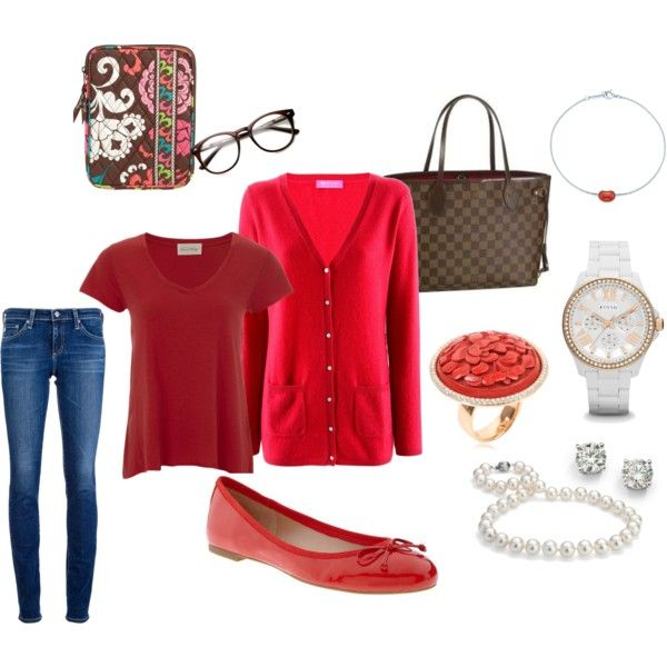 """""""Ready For Take Off"""" by katieny on Polyvore Red, Skinny Jeans, Ballet Flats, Louis Vuitton"""