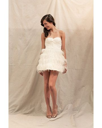 Ivy & Aster    This super-fun minidress has a knot-front crinkle chiffon bodice and a layered feather skirt.