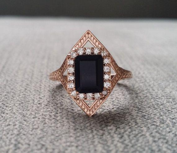 Lovely Black Onyx Diamond Engagement Ring Geometric Victorian Halo Egyptian Bohemian Gothic Antique Emerald Art Deco K