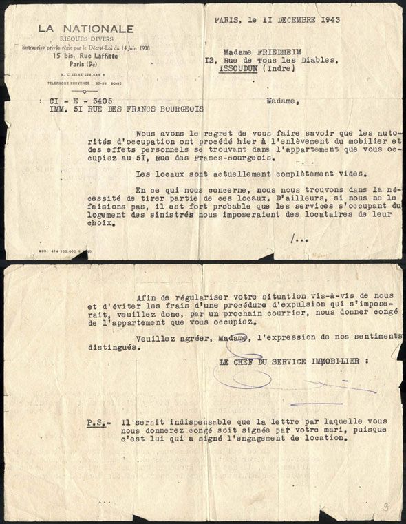 A document which attests to the confiscation of the Friedheim family's property in Paris dated 11 December 1943