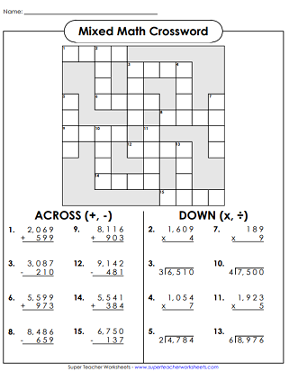 Mixed Math Crossword Puzzle 4th Grade Math Worksheets Division Worksheets Math Division