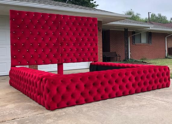 Tufted Velvet Platform Bed Wide California King Queen Full Twin