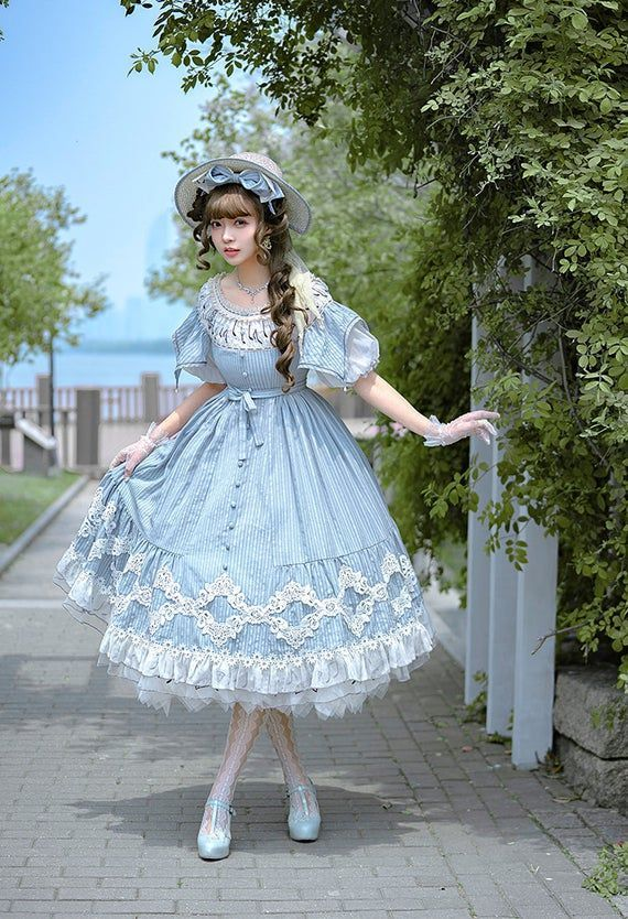 Photo of Classic Lolita Elegant Short Sleeves Chic Stripe Cotton 2-Way Neckline Summer Midi Dress Flared OP