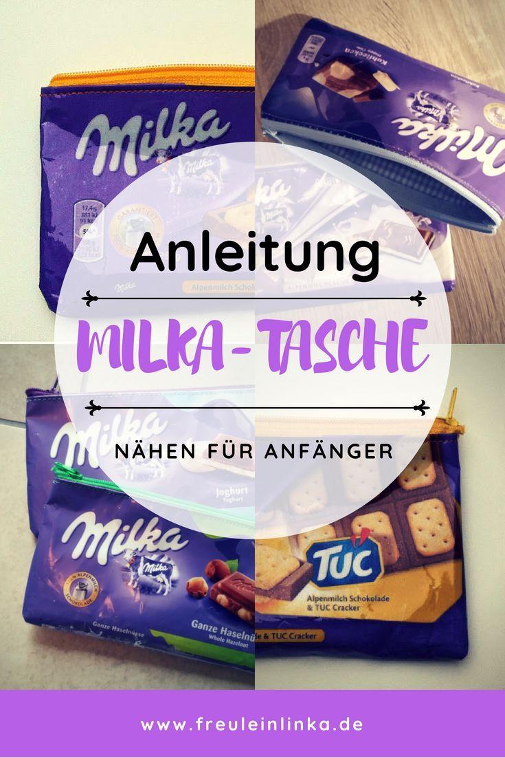 Anleitung: Reißverschlusstasche aus Milka Schokopapier nähen – Freulein Linka – DIY