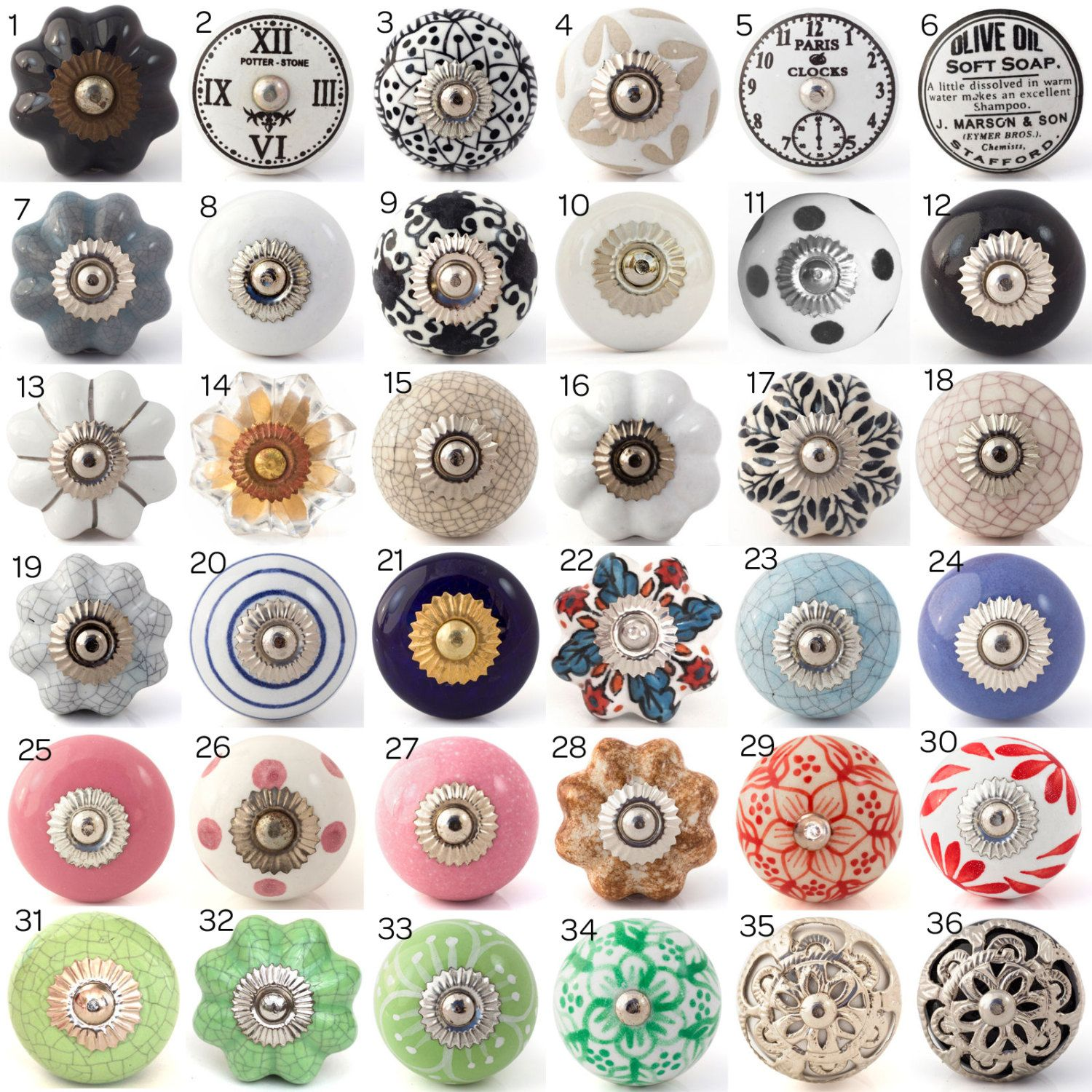 Ceramic Porcelain Door Knobs Various Multi Coloured Designs Kitchen ...