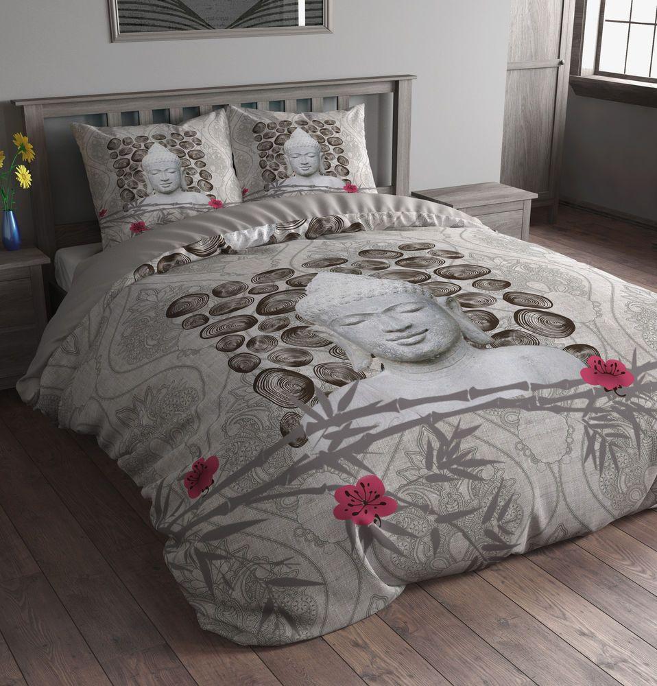 Duvet Cover Pillow Case Bedding Set Microfiber Sleeptime Uk Buddha 2 Grey