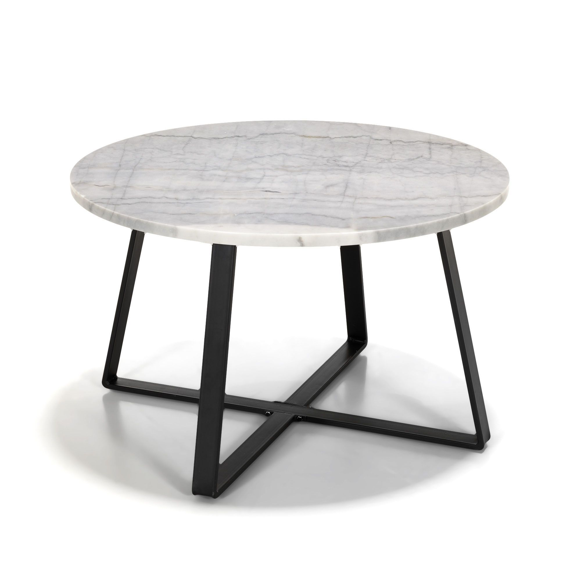 Table basse en m tal avec plateau en marbre blanc et noir for Table basse marbre