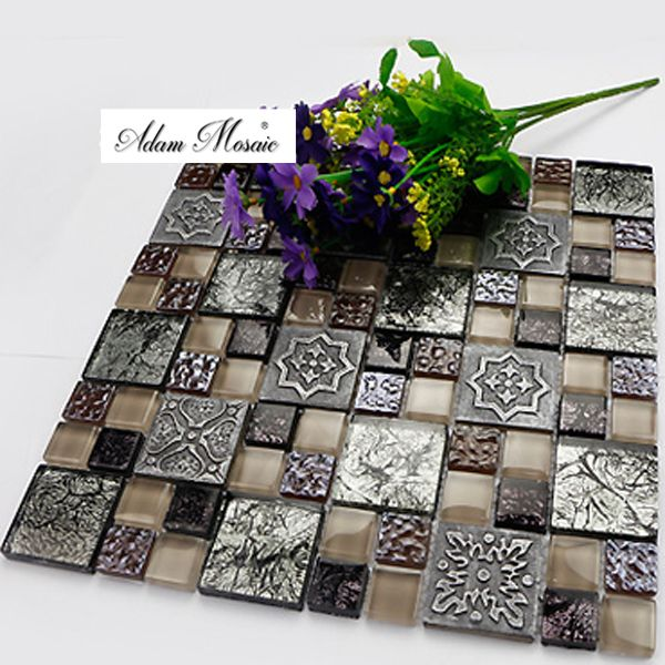 Gray Ceramic Tiles Fireplace Wall Art Design Ancient Brown Tile Gl Backsplash Kitchen Rustic Style Mosaic