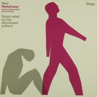 Graphic Design by Fred Troller, 1964, New Pertofrane® Rapid relief for the depressed patient, Geigy.