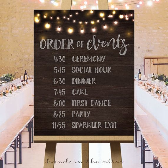 Printable Large Wedding Signs Rustic Ideas Ceremony Sign Day Schedule Order Of Events DIGITAL By HandsInTheAttic
