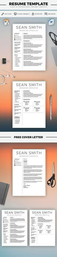 Resume Template - Resume Template for Word + Cover Letter - cover letter microsoft word