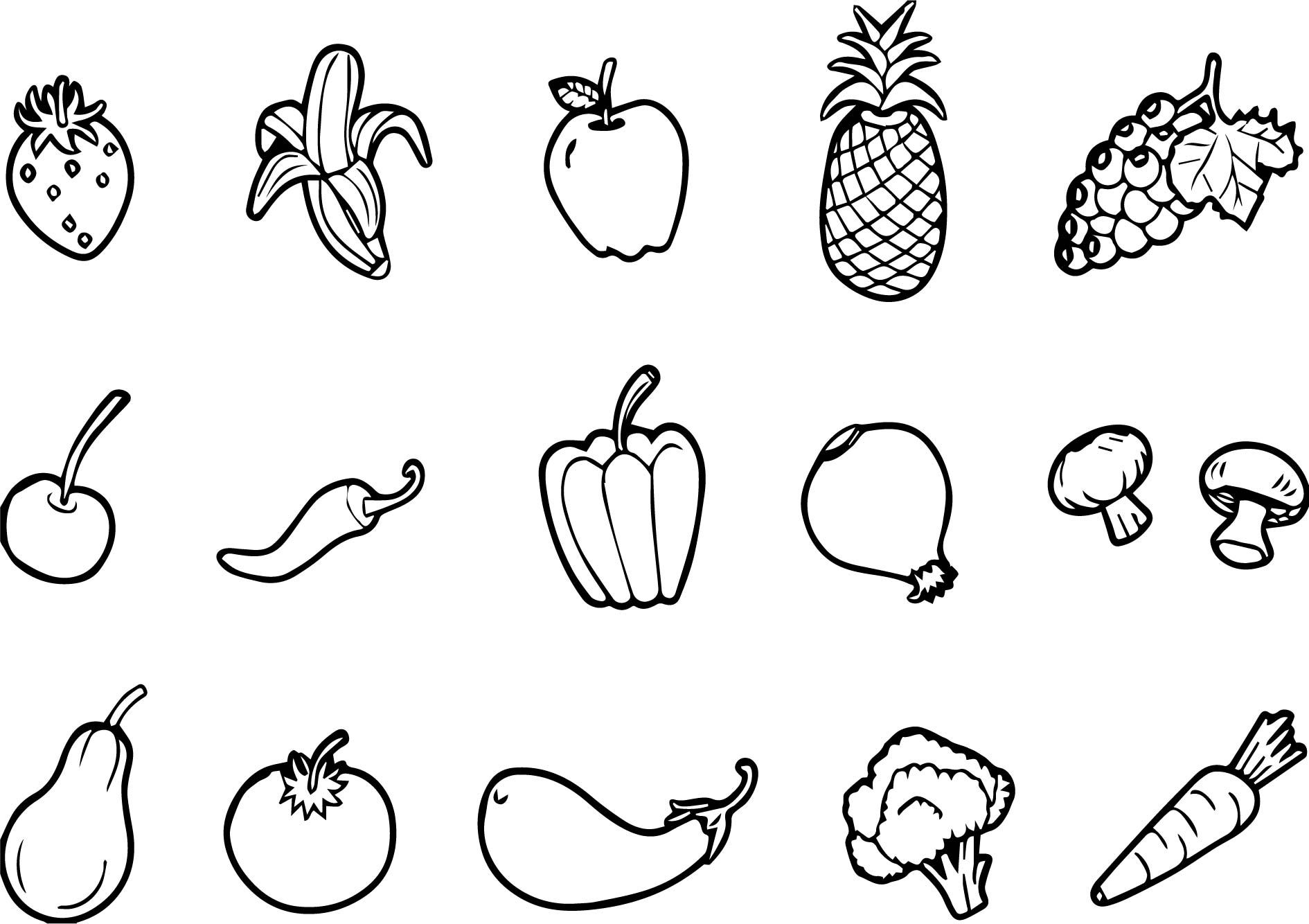 Nice Fruits And Vegetables Set Free Coloring Page Trang To Mau