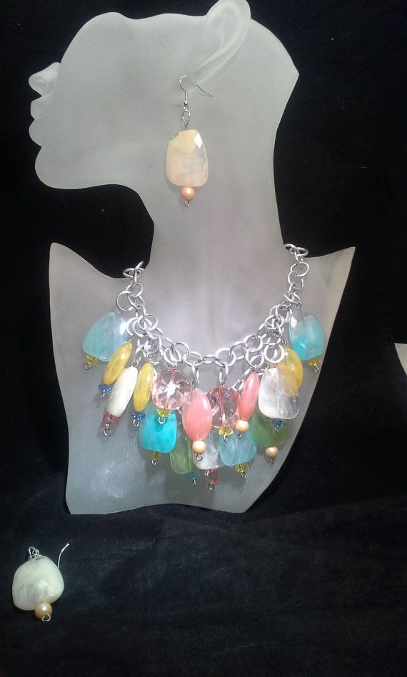 MultiColored Large Bead Necklace  Earrings by SoftlySisterDesigns