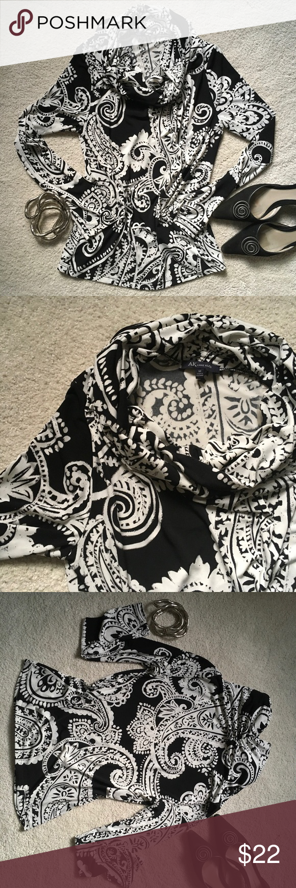 Anne Klein Black & White Top Versatile top. Stretchy with very full, cowl neck and long sleeves. Standout black and white paisley print. Mid weight polyester/spandex blend that super-comfortable. In mint condition. Anne Klein Tops Tunics