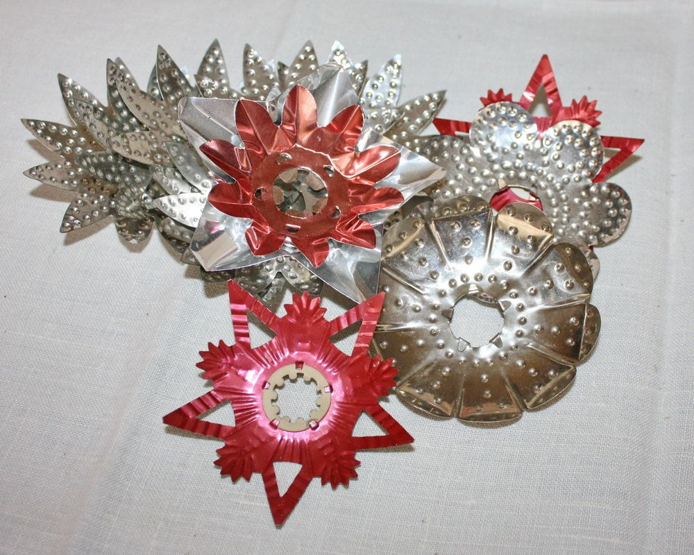 antique christmas light reflectors punched tin metal lot of 13 2500 via etsy
