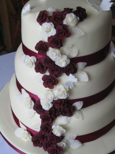 Burgundy And White Round Layer Wedding Cake Wedding