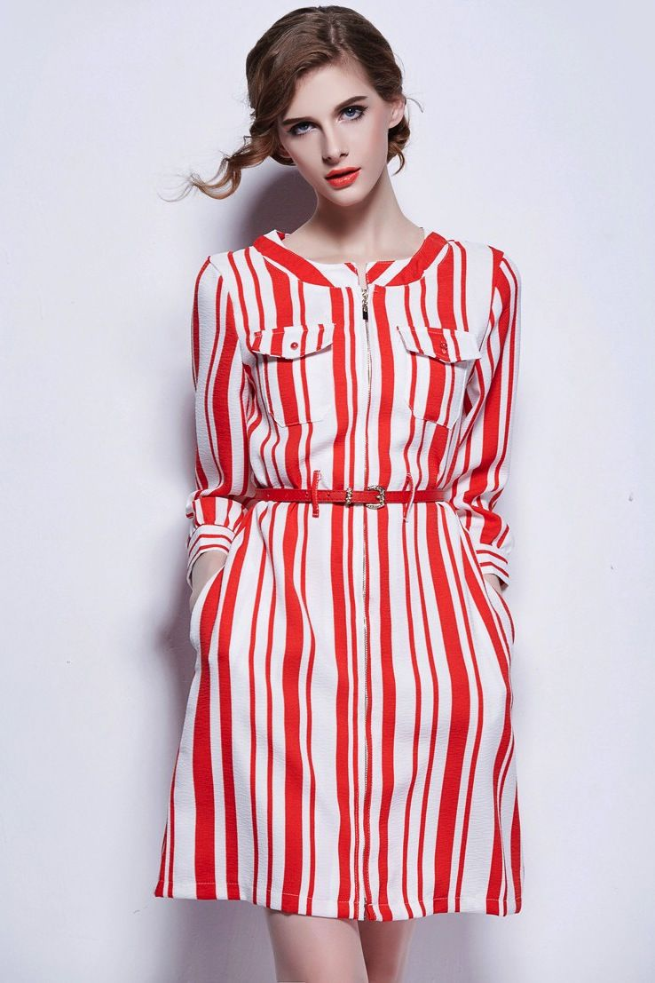 36c2a2f6a43 White Red Vertical Striped Tree Quarter Sleeve Dress 01566