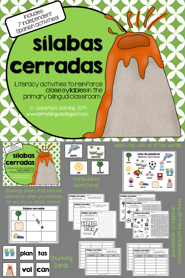 s labas cerradas spanish closed syllables activities spanish dual language and language. Black Bedroom Furniture Sets. Home Design Ideas