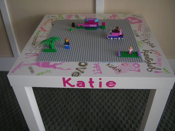 Girls Building Table . with Gray Lego Building Plate attached...Up-cycled..  Repurposed.... Personalizable