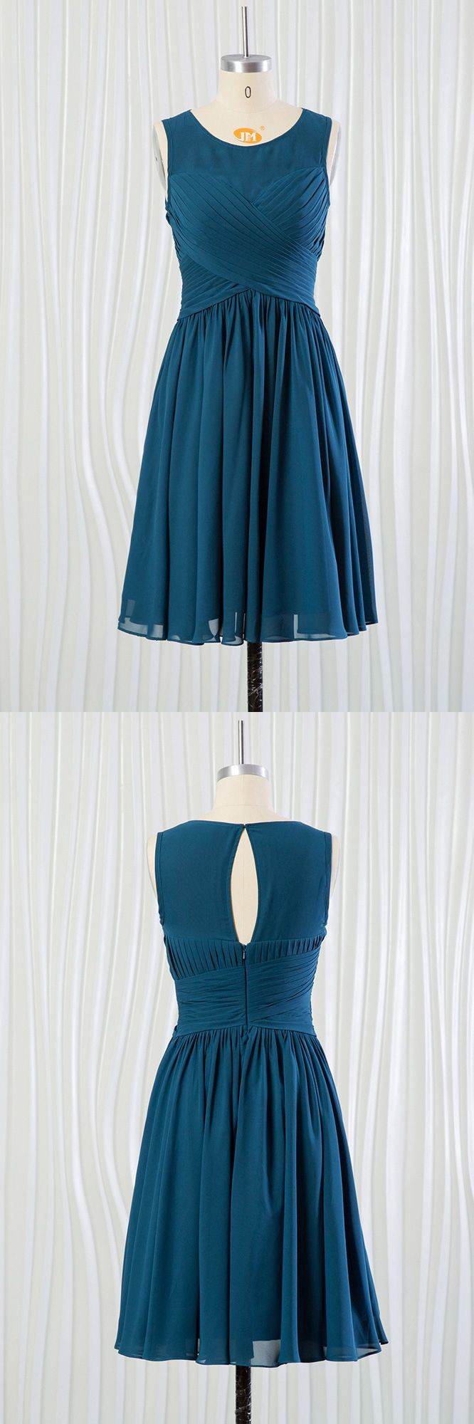 Cheap short teal blue bridesmaid dress with pleated bodice fn