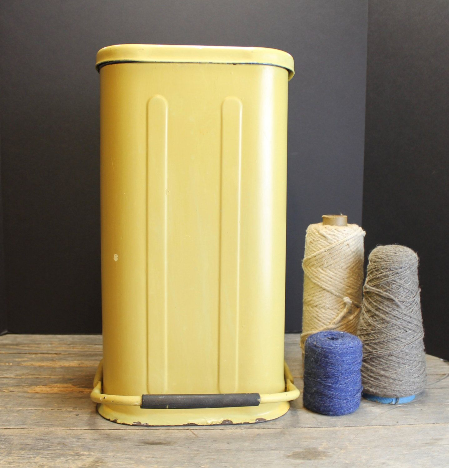 Vintage Yellow Gold Step Up Trashcan Retro Step Trash Can