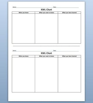 Kwl Chart Half Sheet  Chart Graphic Organizers And Students