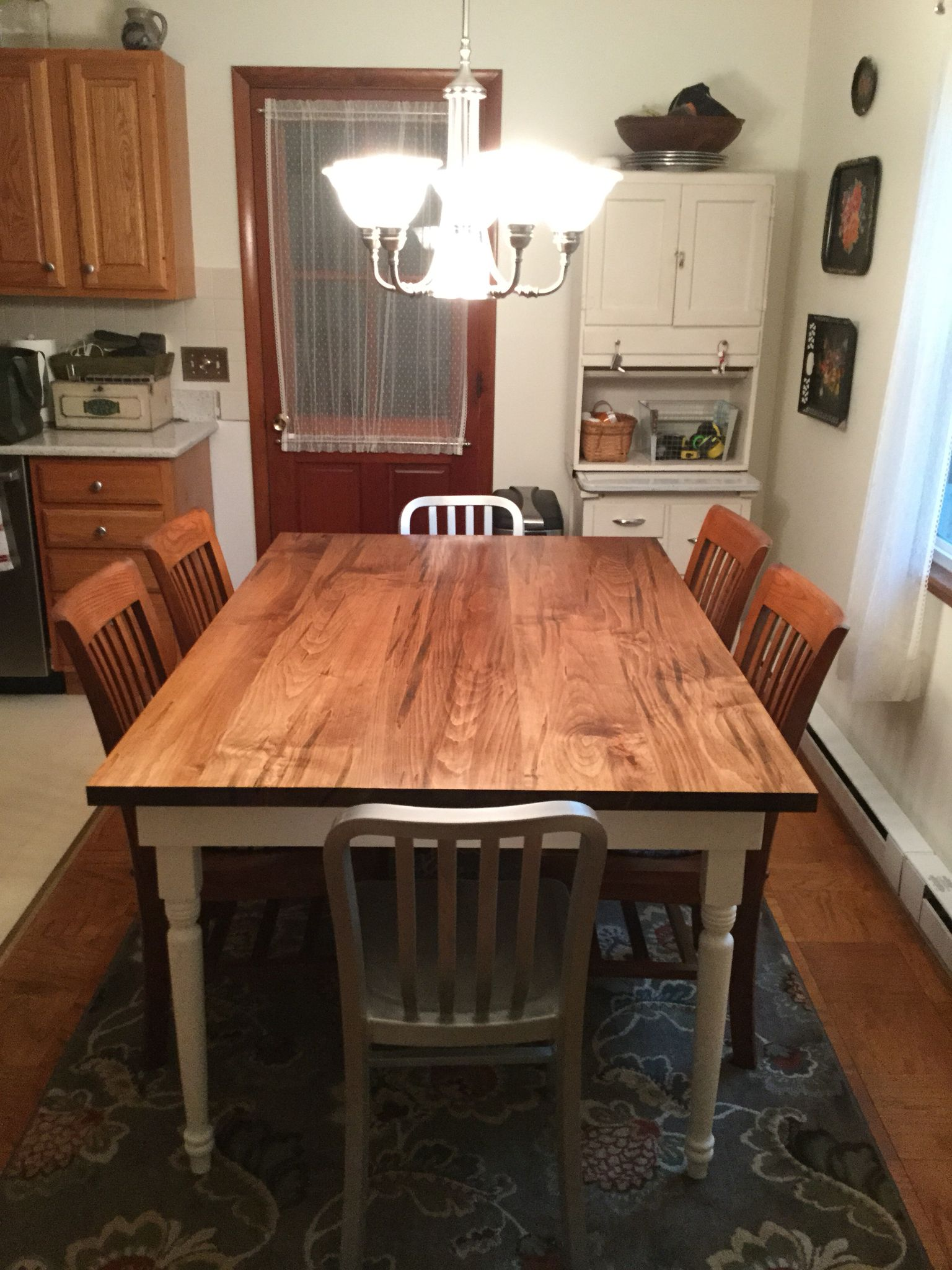 My husband made Our new kitchen table from wormy maple. Legs ...